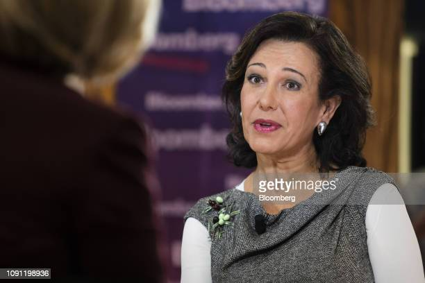 Ana Botin chairman of Banco Santander SA speaks during a Bloomberg Television interview at the Santander Work Cafe in Madrid Spain on Wednesday Jan...