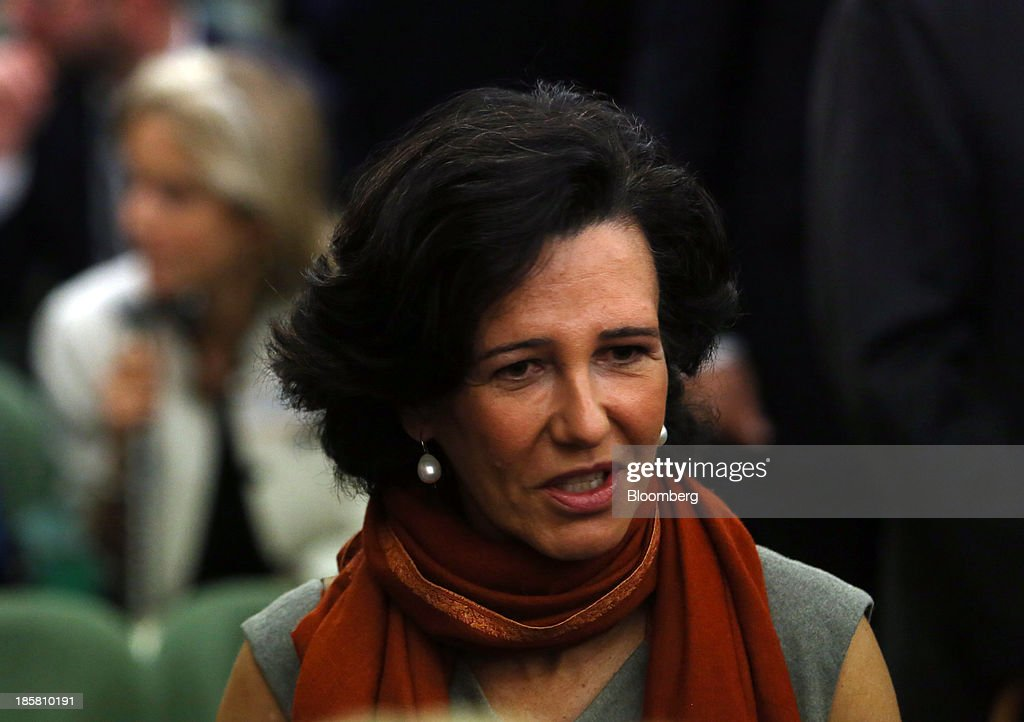 Ana Botin, chief executive officer of Santander U.K. Plc., arrives to attend an event to mark the 125th anniversary of the Financial Times in London, U.K., on Thursday, Oct. 24, 2013. U.K. economic growth accelerated to its fastest pace in more than three years in the third quarter as the recovery continued across all main industries. Photographer: Chris Ratcliffe/Bloomberg via Getty Images