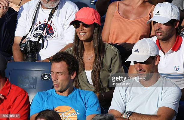Ana Boyer Preysler agent David Tosas coach David Sanchez attend Fernando Verdasco doubles match on day 6 of the 2016 US Open at USTA Billie Jean King...
