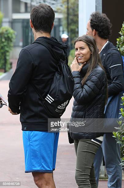 Ana Boyer Preysler and boyfriend Fernando Verdasco of Spain leave the practice courts during the 2016 French Open at RolandGarros stadium on May 24...