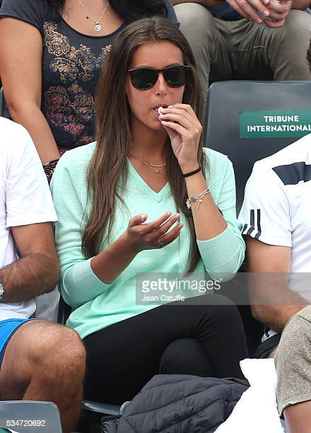 Ana Boyer Preysler supports her boyfriend Fernando Verdasco of Spain during his match against Kei Nishikori of Japan on day 6 of the 2016 French Open...