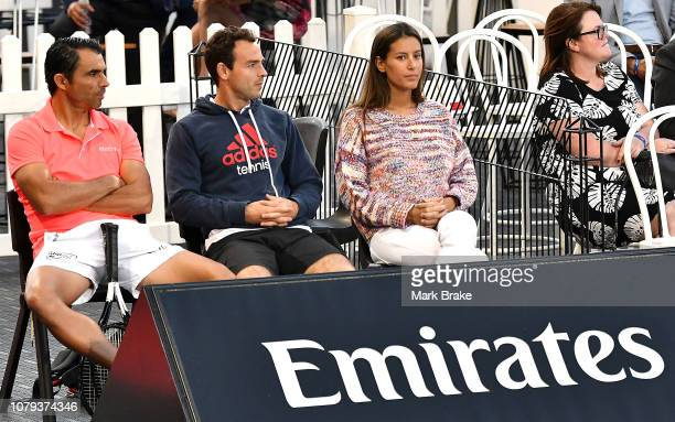 Ana Boyer watches her partner Fernando Verdasco play Borna Coric from the Emirates box during day two of the 2019 World Tennis Challenge at Memorial...