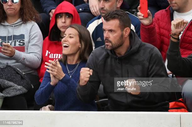 Ana Boyer wife of Fernando Verdasco of Spain celebrates his first round victory during day 3 of the 2019 French Open at Roland Garros stadium on May...