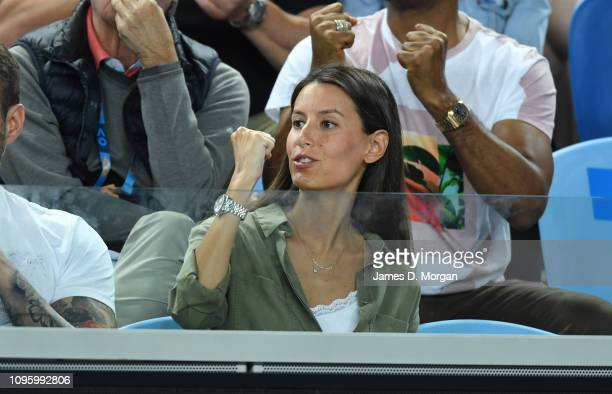 Ana Boyer wife of Fernando Verdasco of Spain watches him lose his match against Marin Cilic of Croatia during day five of the 2019 Australian Open at...