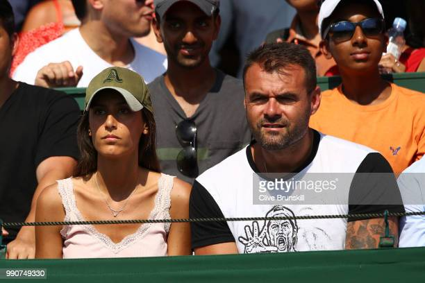 Ana Boyer wife of Fernando Verdasco wathes the action during her husband's Men's Singles first round match against Frances Tiafoe of the United...