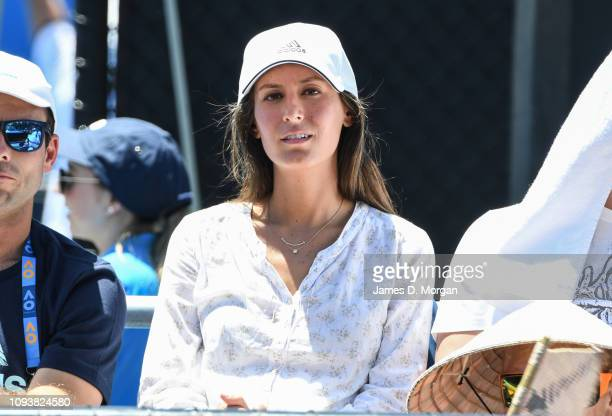 Ana Boyer wife of Spain's Fernando Verdasco watches her husband play his first round match at the 2019 Australian Open at Melbourne Park on January...