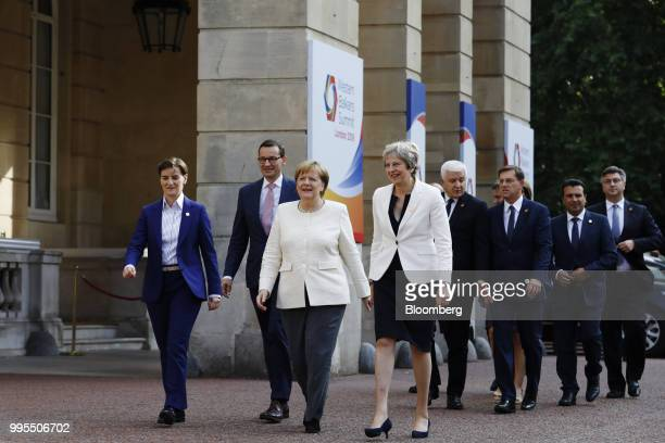 Ana Brnabic Serbia's prime minister from left Mateusz Morawiecki Poland's prime minister Angela Merkel Germany's chancellor and Theresa May UK prime...
