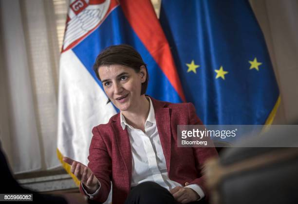 Ana Brnabic Serbia's prime minister gestures as she speaks during an interview in Belgrade Serbia on Friday June 30 2017 Serbia is focused on...