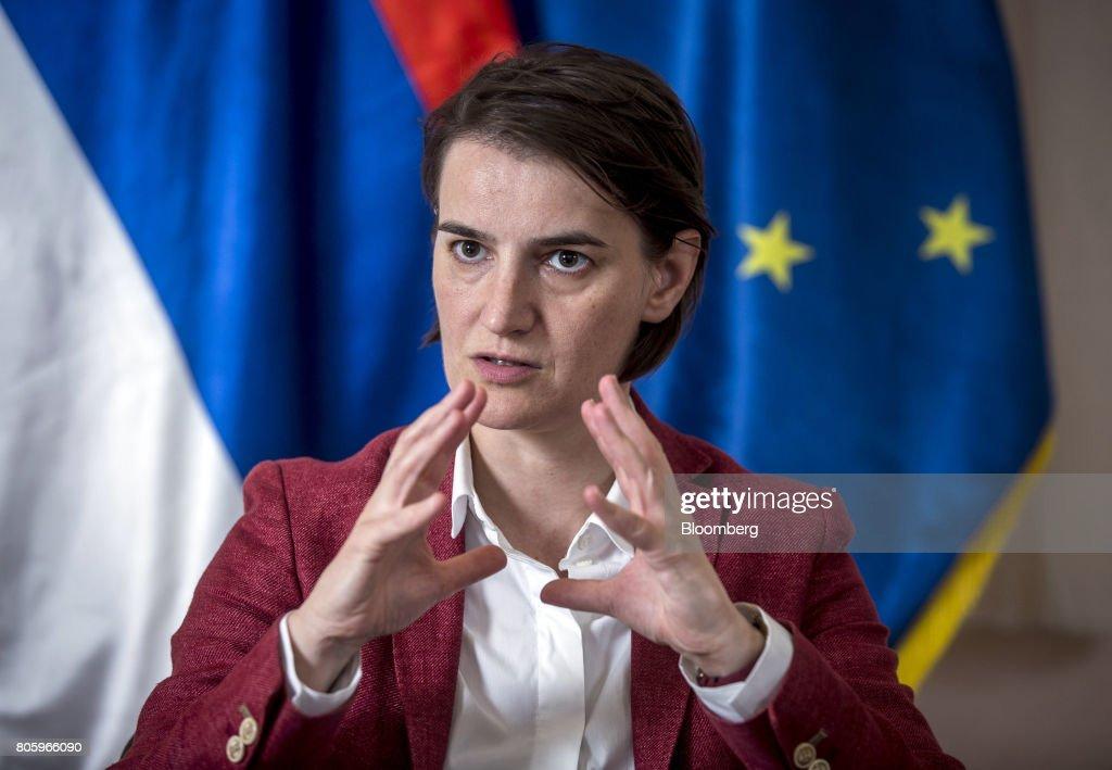 Serbian Prime Minister Ana Brnabic Interview : News Photo