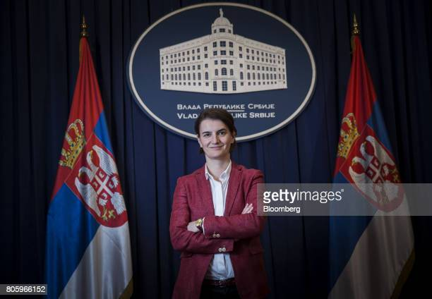 Ana Brnabic Serbia's prime minister poses for a photograph following an interview in Belgrade Serbia on Friday June 30 2017 Serbia is focused on...