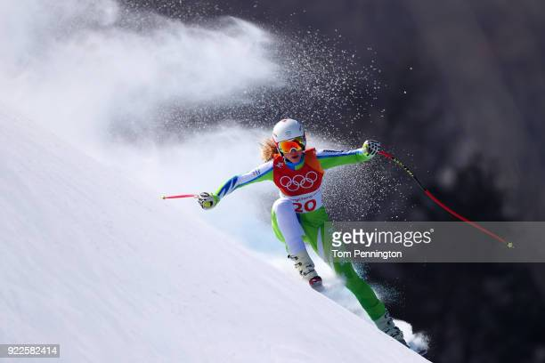 Ana Bucik of Slovenia competes during the Ladies' Alpine Combined on day thirteen of the PyeongChang 2018 Winter Olympic Games at Yongpyong Alpine...