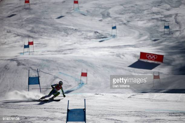 Ana Bucik of Slovenia competes in the Ladies' Giant Slalom on day six of the PyeongChang 2018 Winter Olympic Games at Yongpyong Alpine Centre on...