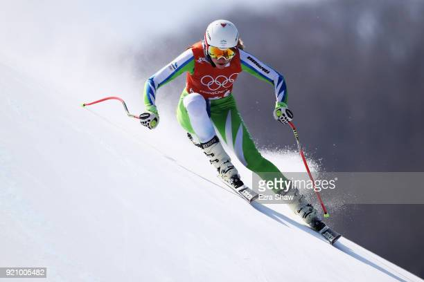 Ana Bucik of Slovenia makes a run during the Ladies' Downhill Alpine Skiing training on day eleven of the PyeongChang 2018 Winter Olympic Games at...