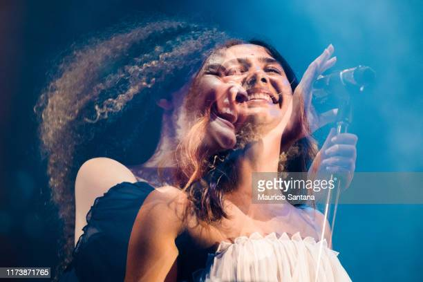 Ana Caetano and Vitoria Falcao of Anavitoria performs live on stage during day 6 of Rock In Rio Music Festival at Cidade do Rock on October 5 2019 in...