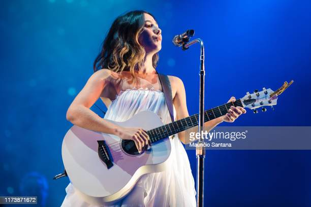 Ana Caetano of Anavitoria performs live on stage during day 6 of Rock In Rio Music Festival at Cidade do Rock on October 5 2019 in Rio de Janeiro...