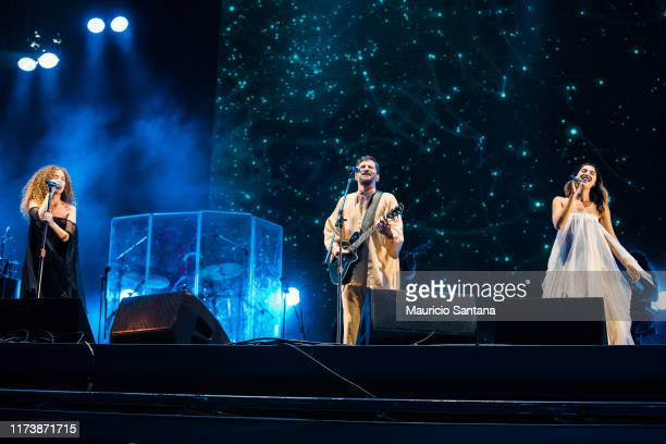 Ana Caetano Saulo Fernandes and Vitoria Falcao of Anavitoria performs live on stage during day 6 of Rock In Rio Music Festival at Cidade do Rock on...