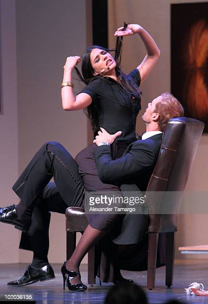 Ana Carolina da Fonseca and William Levy are seen performing at the premiere of 'Un Amante a la Medida' at the Gusman Center for the Performing Arts...