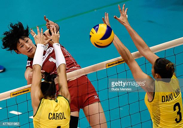 Ana Carolina da Silva and Danielle Lins of Brazil attempt a block during the Brazil v Japan Volleyball Challenge at Maracanazinho on June 18 2015 in...