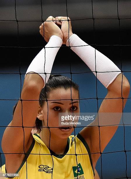 Ana Carolina da Silva looks on during the Brazil v Japan Volleyball Challenge at Maracanazinho on June 18 2015 in Rio de Janeiro Brazil