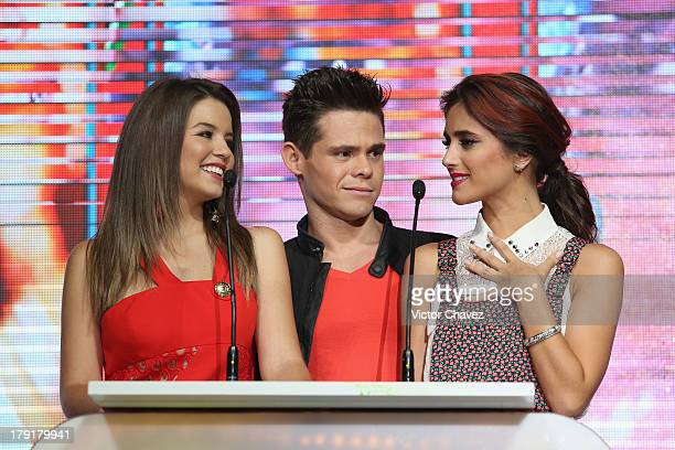 Ana Carolina Grajales Willy Martin and Sol Rodriguez speak onstage during the Kids Choice Awards Mexico 2013 at Pepsi Center WTC on August 31 2013 in...