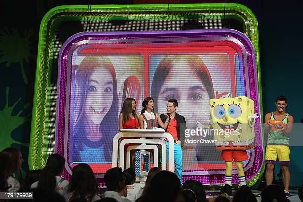 Ana Carolina Grajales Willy Martin Sol Rodriguez and SpongeBob SquarePants speak onstage during the Kids Choice Awards Mexico 2013 at Pepsi Center...
