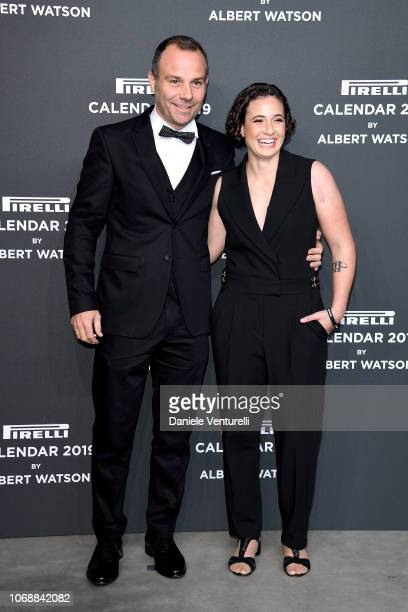 Ana Carrasco and guest walk the red carpet ahead of the 2019 Pirelli Calendar launch gala at HangarBicocca on December 5 2018 in Milan Italy