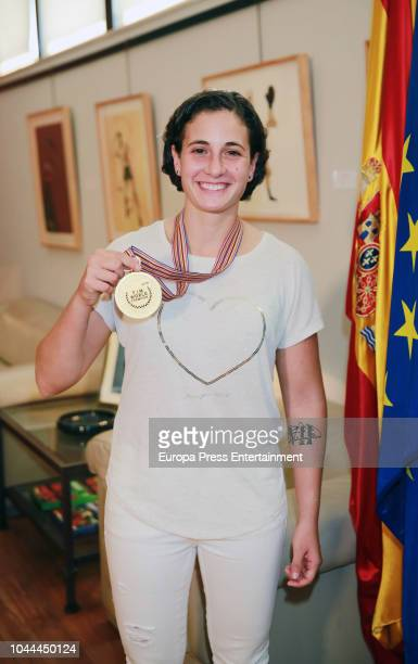 Ana Carrasco first female World Motorcycle Champion poses for a photo session on October 1 2018 in Madrid Spain