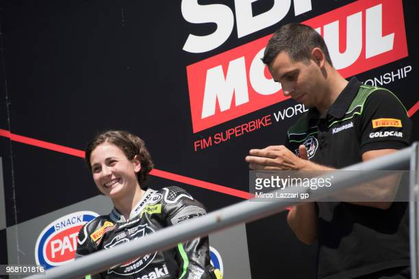 Ana Carrasco of Spain and DS Junior Team celebrates on the podium the victory at the end of the SuperSport300 during 2018 Superbikes Italian Round on...