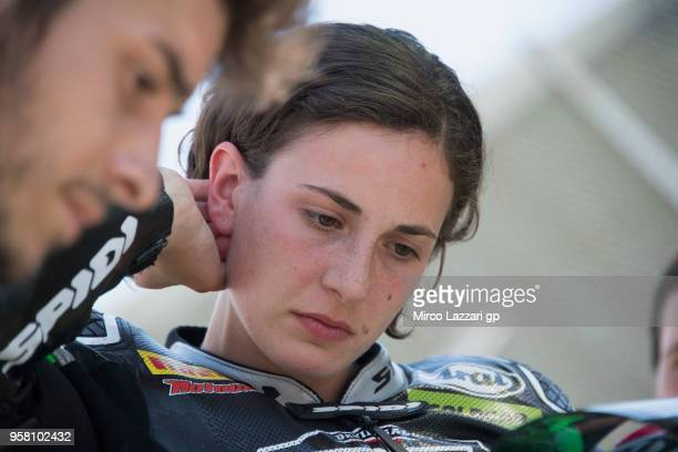 Ana Carrasco of Spain and DS Junior Team celebrates prepares to start on the grid during the SuperSport300 during 2018 Superbikes Italian Round on...