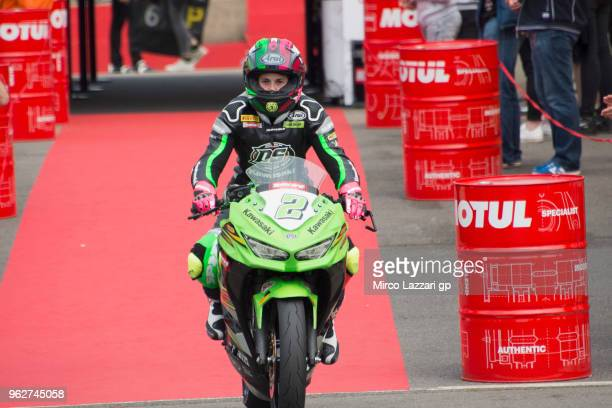Ana Carrasco of Spain and DS Junior Team celebrates the SuperSport300 Pole position during the Motul FIM Superbike World Championship Race One at...