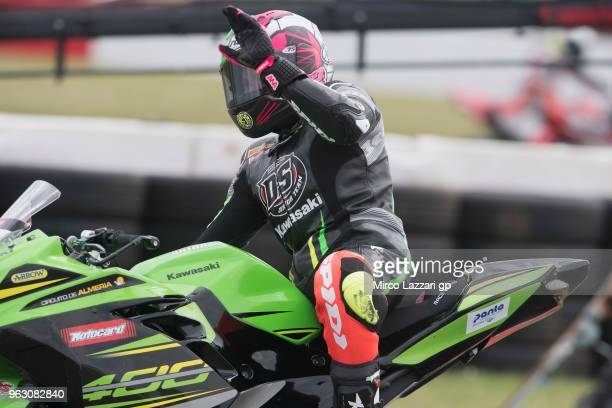 Ana Carrasco of Spain and DS Junior Team celebrates the victory at the end of the Supersport300 race during the Motul FIM Superbike World...
