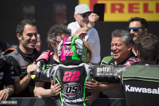 Ana Carrasco of Spain and DS Junior Team celebrates under the podium the victory at the end of the SuperSport300 during 2018 Superbikes Italian Round...