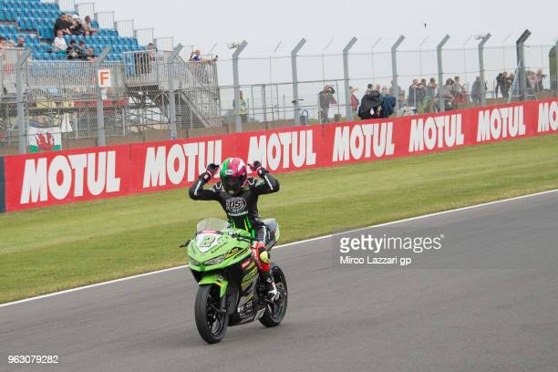 Ana Carrasco of Spain and DS Junior Team cuts the finish lane and celebrates the victory at the end of the Supersport300 race during the Motul FIM...