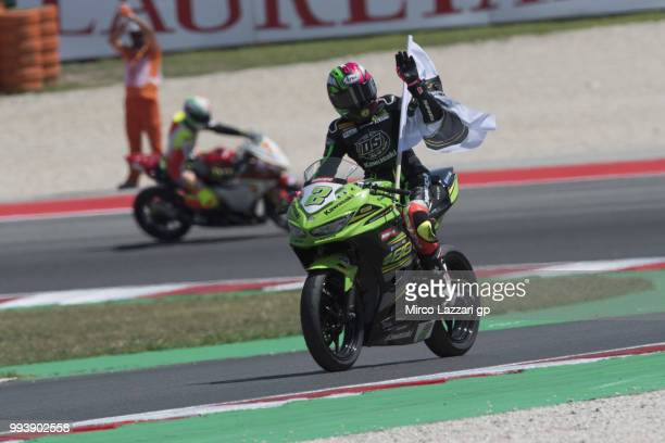 Ana Carrasco of Spain and DS Junior Team greets the fans at the end of the Supersport 300 race during the WorldSBK Riviera di Rimini Race on July 8...