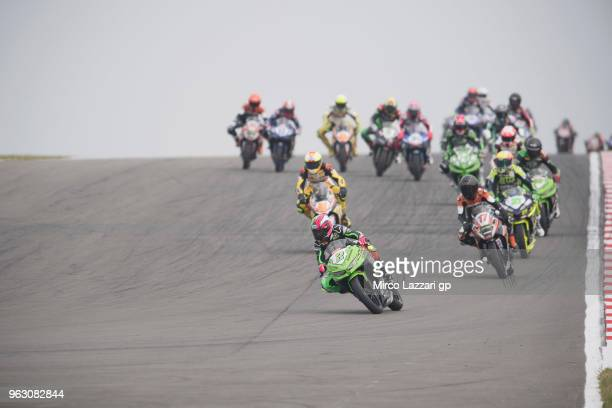 Ana Carrasco of Spain and DS Junior Team leads the field during the Supersport300 race during the Motul FIM Superbike World Championship Race Two at...