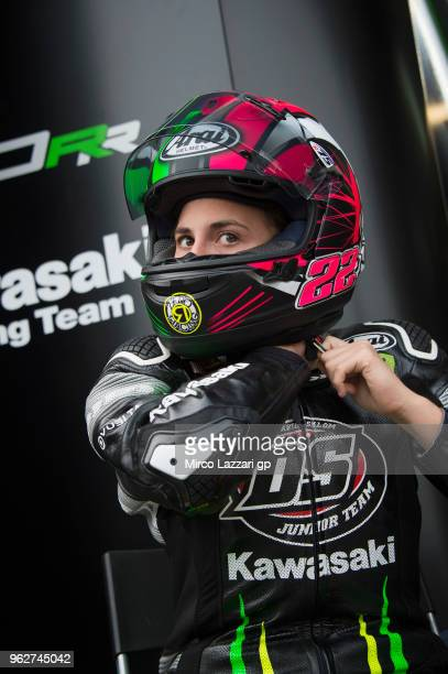 Ana Carrasco of Spain and DS Junior Team prepares to start during the SuperSport300 qualifying practice during the Motul FIM Superbike World...