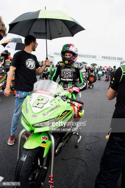 Ana Carrasco of Spain and DS Junior Team prepares to start on the grid during the Supersport300 race during the Motul FIM Superbike World...
