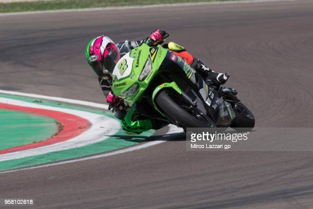 Ana Carrasco of Spain and DS Junior Team rounds the bend during the SuperSport300 during 2018 Superbikes Italian Round on May 13 2018 in Imola Italy