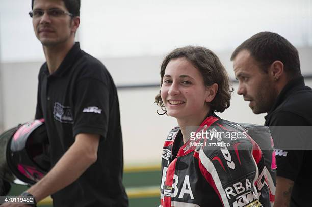 Ana Carrasco of Spain and RBA Racing Team smiles in pit during the MotoGp of Argentina Free Practice on April 17 2015 in Rio Hondo Argentina