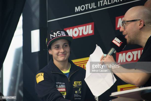 Ana Carrasco of Spain speaks with journalist during the the Paddock Show during the FIM Superbike World Championship Preview at Misano World Circuit...