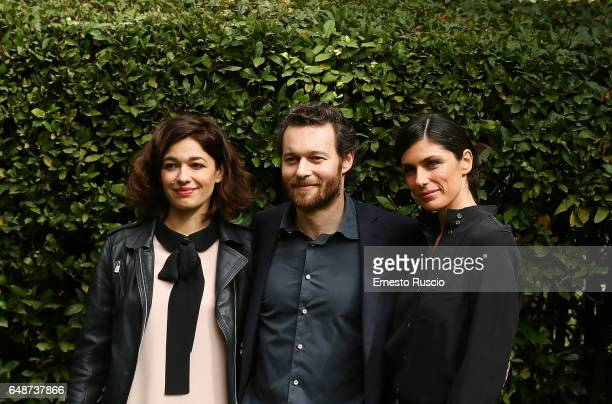 Ana Caterina Morariu Giorgio Marchesi and Anna Valle attend a photocall for 'Le Sorelle' at Rai Viale Mazzini on March 6 2017 in Rome Italy