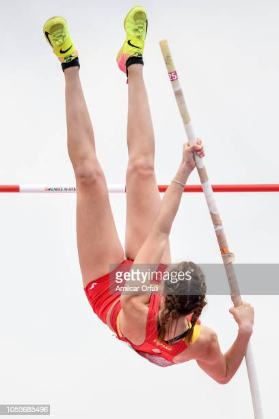 Ana Chacon of Spain competes in the Women's Pole Vault Stage 1 at Youth Olympic Park Villa Soldati on October 11 2018 in Buenos Aires Argentina