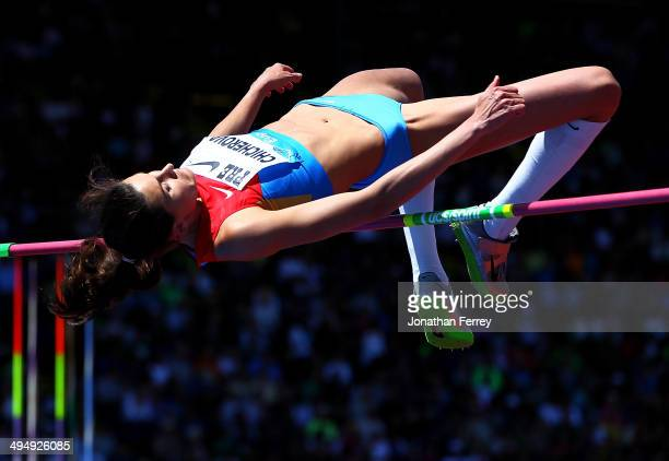 Ana Chicherova of Russia competes in the high jump during day 2 of the IAAF Diamond League Nike Prefontaine Classic on May 31 2014 at the Hayward...
