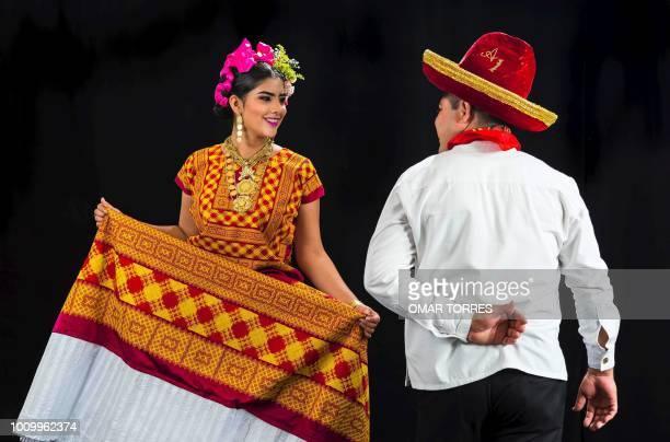 Ana Cinthia Quintana and Antonio Perez from Asuncion Ixtaltepec rehearse for the Guelaguetza traditional festival in Oaxaca Mexico on July 28 2018...