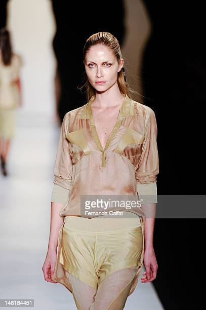 Ana Claudia Michels walks the runway at the Animale show during Sao Paulo Fashion Week Spring/Summer 2013 Collections on June 11 2012 in Sao Paulo...