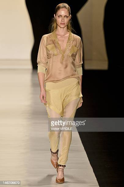 Ana Claudia Michels walks the runway during the Animale show during Sao Paulo Fashion Week Spring/Summer 2013 Collections on June 11 2012 in Sao...