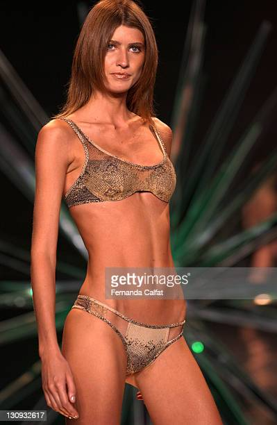 Ana Claudia Michels wearing Rosa Cha Spring 2004 during MercedesBenz Fashion Week Spring 2004 Rosa Cha Runway at Gertrude Tent Bryant Park in New...