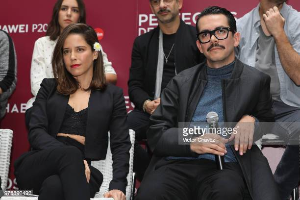 Ana Claudia Talancon and Film director Manolo Caro attend a press conference to promote the film 'Perfectos Desconocidos' at Condesa DF Hotel on June...