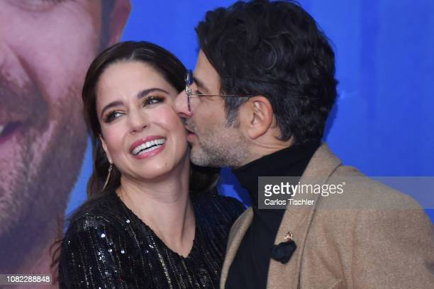 Ana Claudia Talancon and Miguel Rodarte poses for photos during a red carpet as part of the film 'Perfectos Desconocidos' premiere at Cinepolis Diana...
