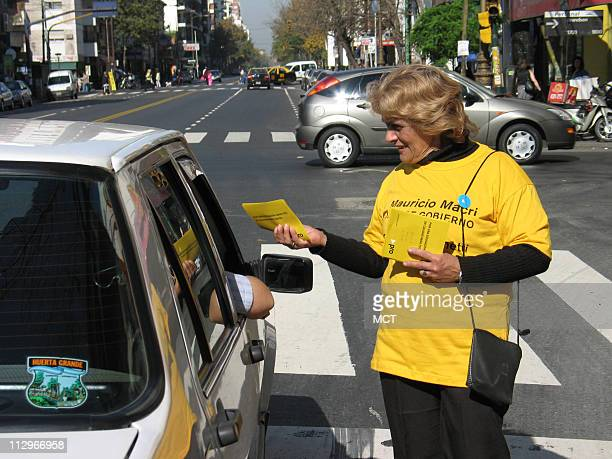 Ana Clider Mesa campaigns for Buenos Aires mayoral candidate Mauricio Macri May 19 in Buenos Aires Argentina on the site of a crash that involved a...
